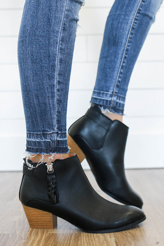 Travis-27 Faux Leather Ankle Booties - Online Clothing Boutique