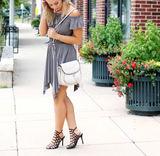 Charcoal Off the Shoulder Flutter Handkerchief Dress
