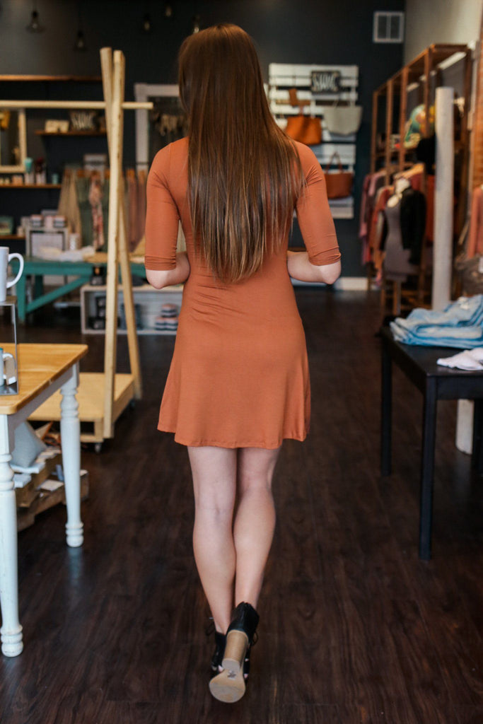Rust Half Sleeve Deep V Choker Neckline Fit And Flare Dress