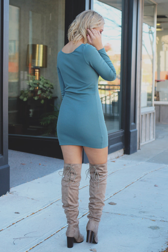 Robins Egg Long Sleeve Round Neck Ribbed Bodycon Dress