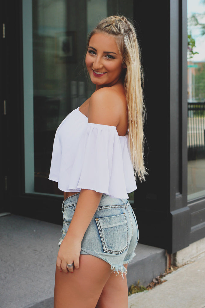 White Off The Shoulder Short Sleeve Crop Top