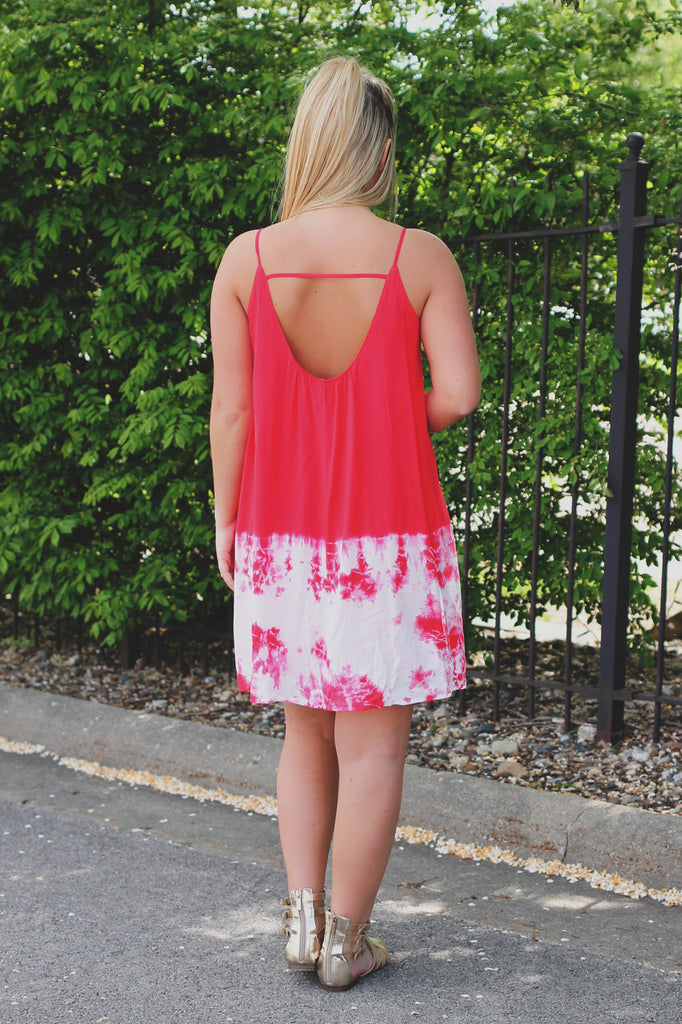 Unique Tie Dye Detail Deep Round Back Lined Shift Dress