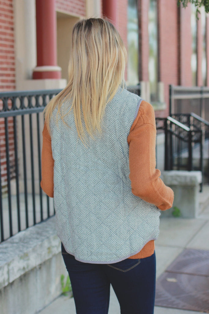 Grey Chevron Herringbone Vest