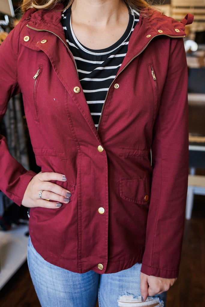 Merlot Drawstring Waist Hooded Jacket