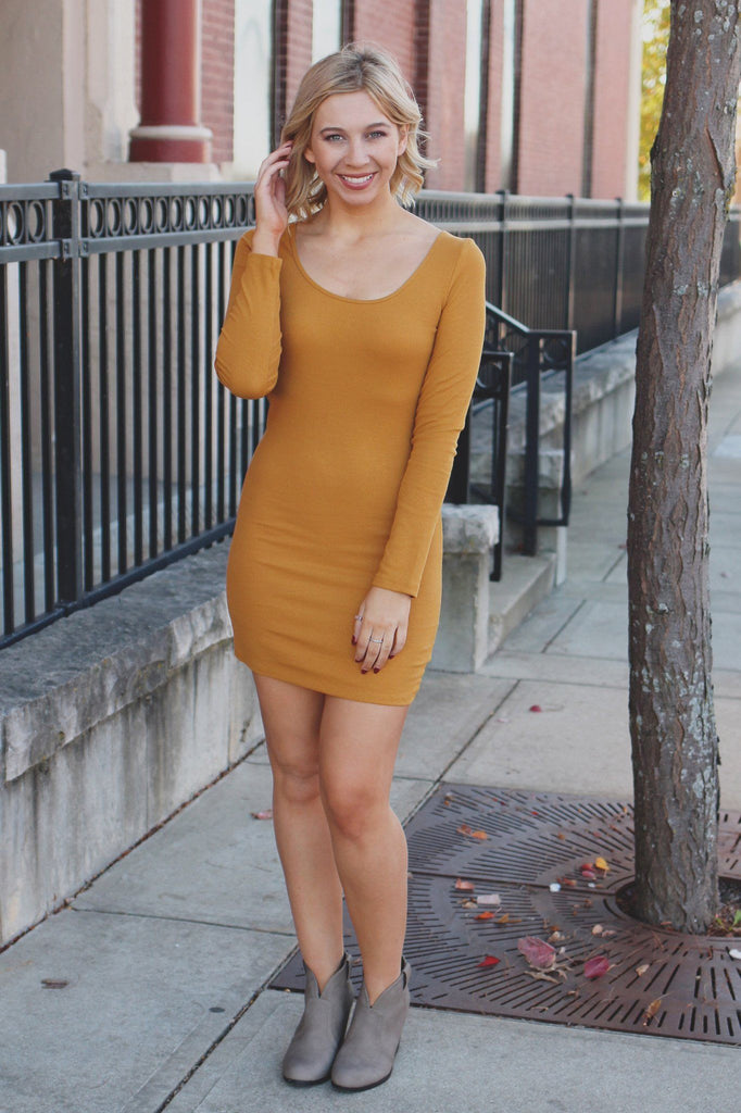 Mustard Long Sleeve Round Neck Ribbed Bodycon Dress