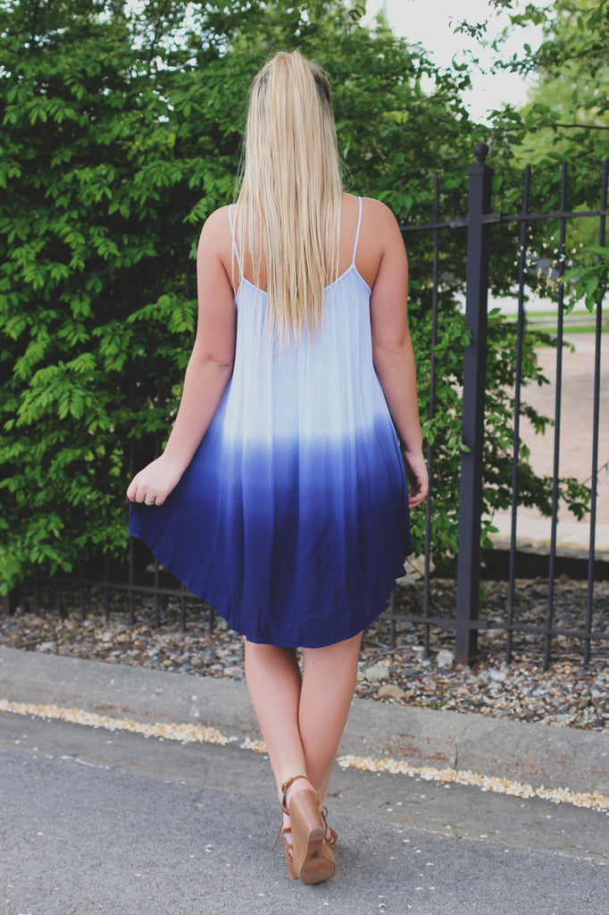 Periwinkle Ombre Cami Strap Shift Dress