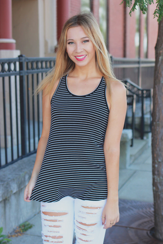 Mini Stripes Sleeveless Racerback Round Hemline Top