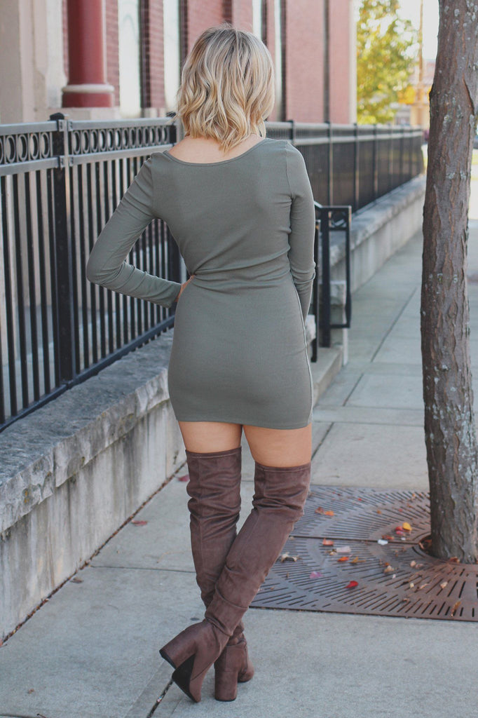 Olive Long Sleeve Round Neck Ribbed Knit Bodycon Dress