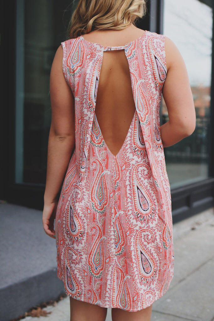 Paisley Print High-low Hem Keyhole Back Trapeze Dress