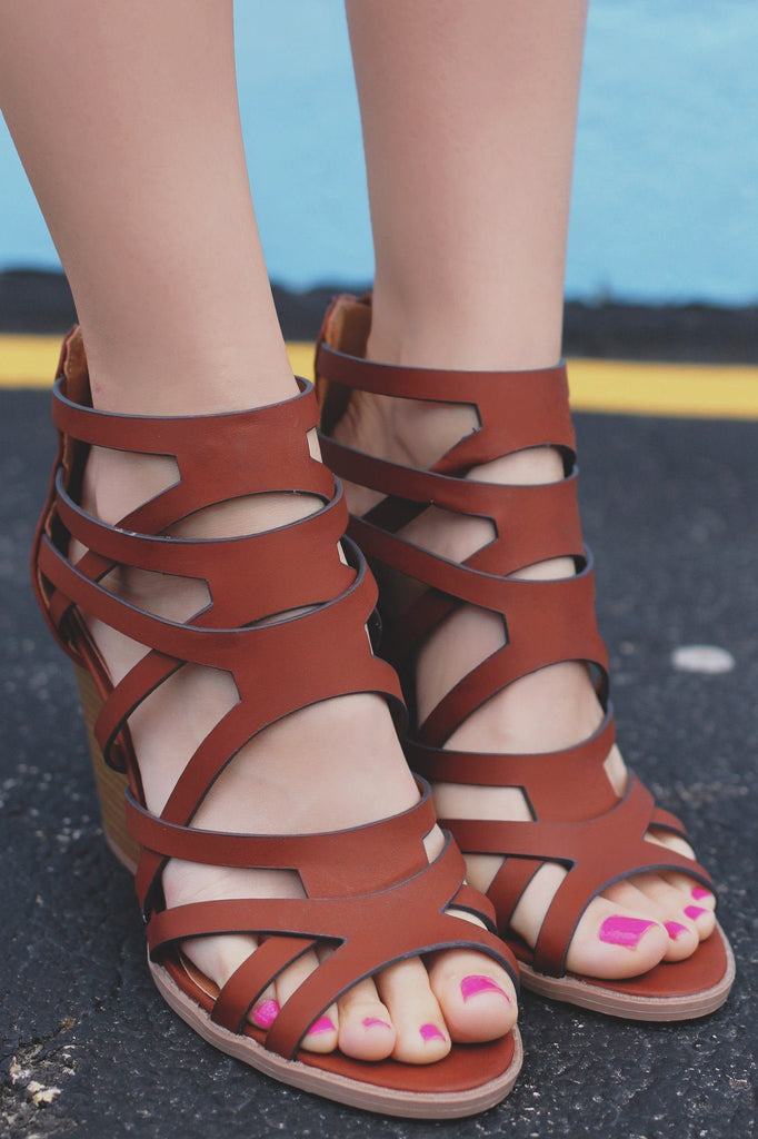 Cognac Strappy Caged Stacked Heel Zip Back Barnes-23A
