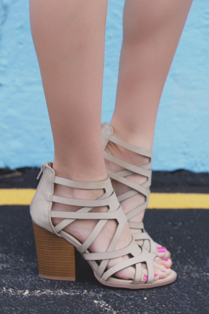 Sand Strappy Caged Stacked Heel Zipper Back Barnes-23A