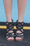 Black Strappy Caged Stacked Heel Zipper Back Barnes-23A