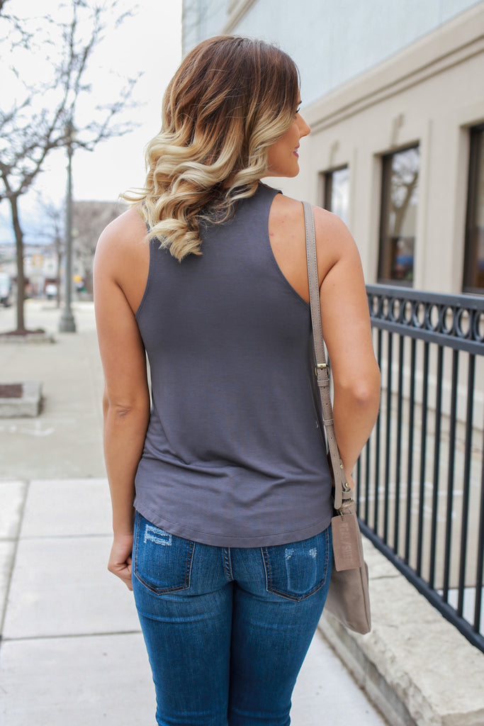 Charcoal Sleeveless Round Neck Loose Fit Basic Top