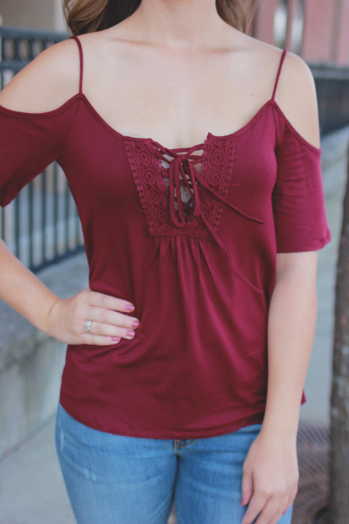 Burgundy Off the Shoulder Lace Up Front Crochet Top