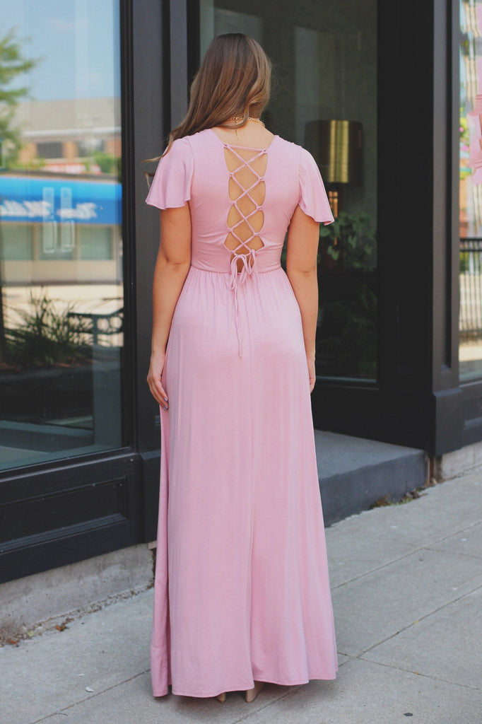 Dusty Pink Deep V Flutter Sleeve Laceup Back Maxi Dress