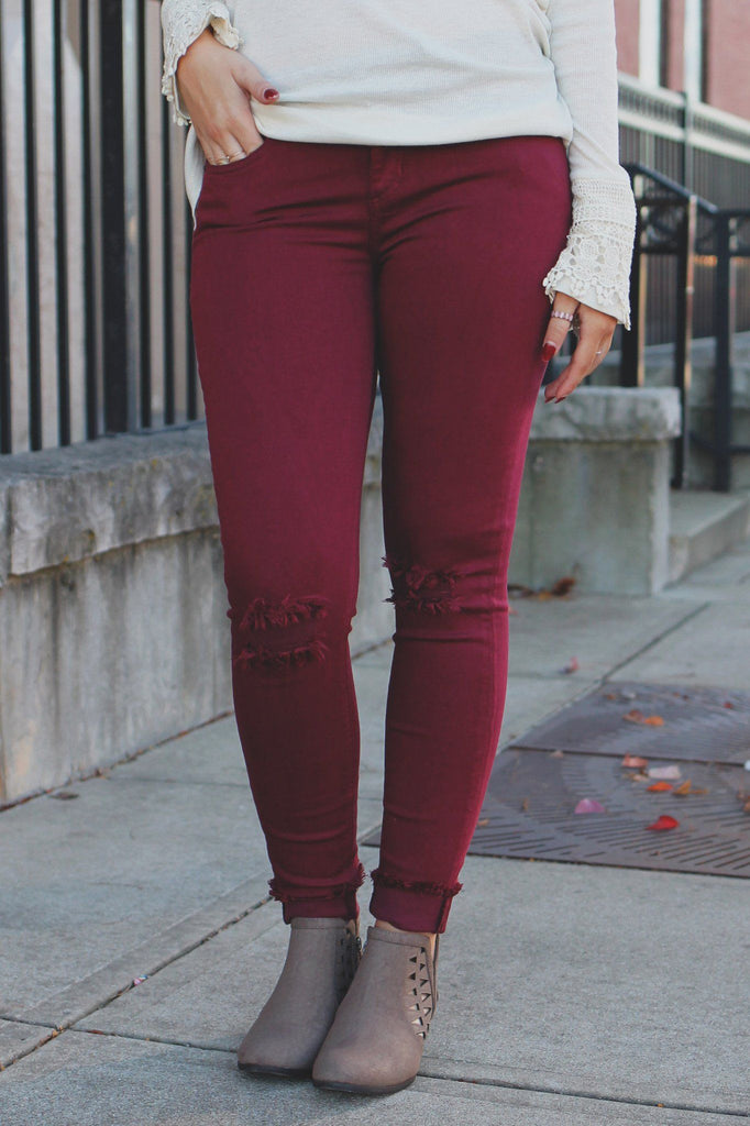 Wine Mid Rise Distressed Skinny Denim