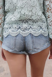 Light Wash Distressed Loose Fit Low Rise Denim Shorts
