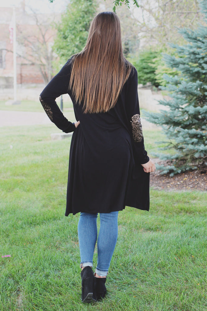 Open Front Long Sleeve Sequin Elbow Patch Knit Cardigan