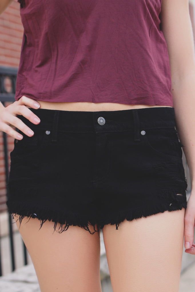 Black Low Rise Distressed Frayed Hem Denim Shorts