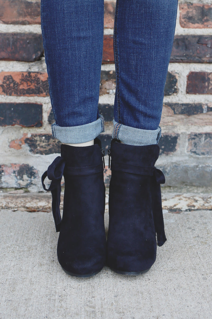 Black Faux Suede Almond Toe Bow Accent Booties Gina-36