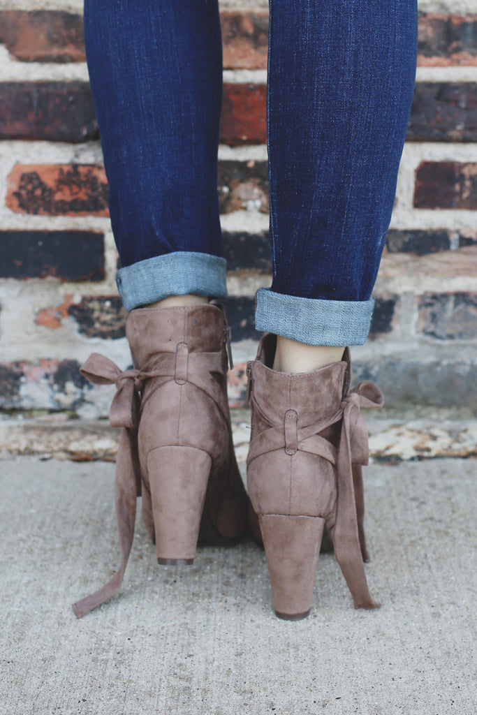 Taupe Faux Suede Almond Toe Bow Accent Booties Gina-36