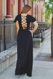 Black Deep V Flutter Sleeve Lace Up Back Maxi Dress