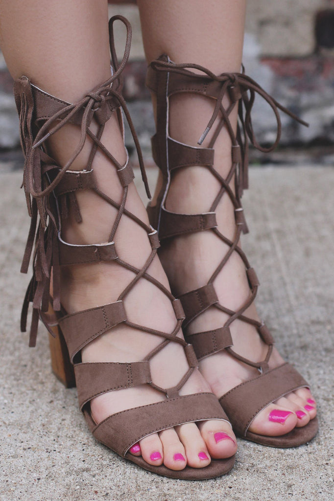 Faux Suede Fringe Gladiator Heeled Sandals Susie-08