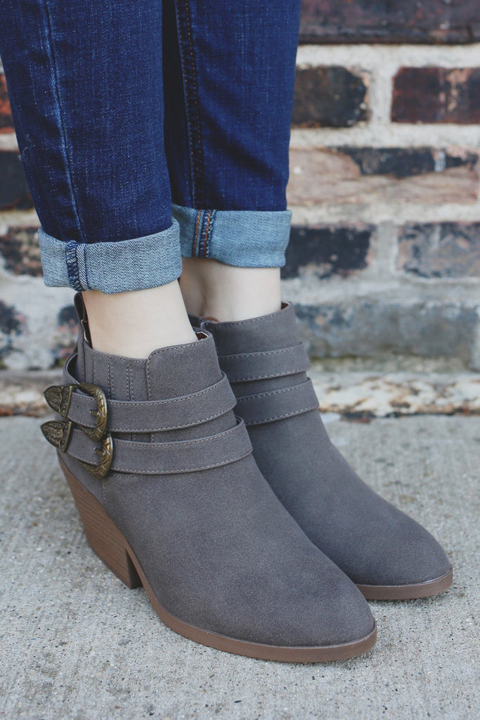 Ash Faux Suede Buckle Belted Ankle Booties Zora-06