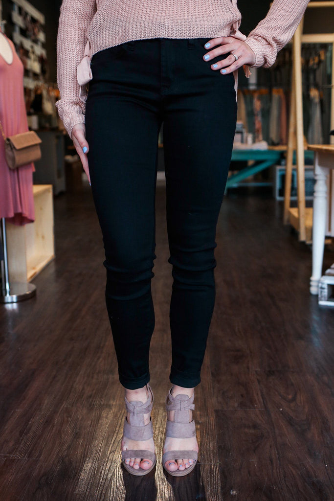 Black Skinny Fit Mid Rise Five Pocket Denim