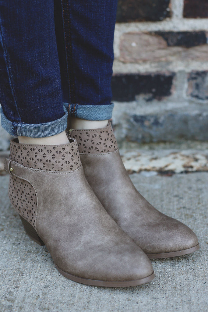 Taupe Perforated Almond Toe Booties Travis-02