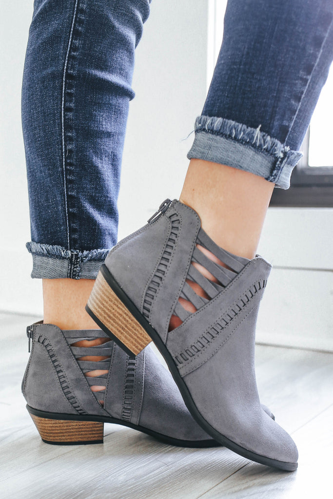 Weekend-30 Faux Suede Ankle Booties - Online Clothing Boutique