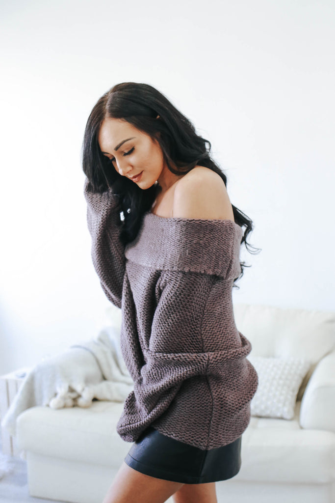 Off The Shoulder Knit Sweater - Online Clothing Boutique