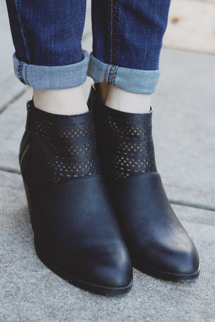 Black Faux Leather Perforated Booties Zora-05