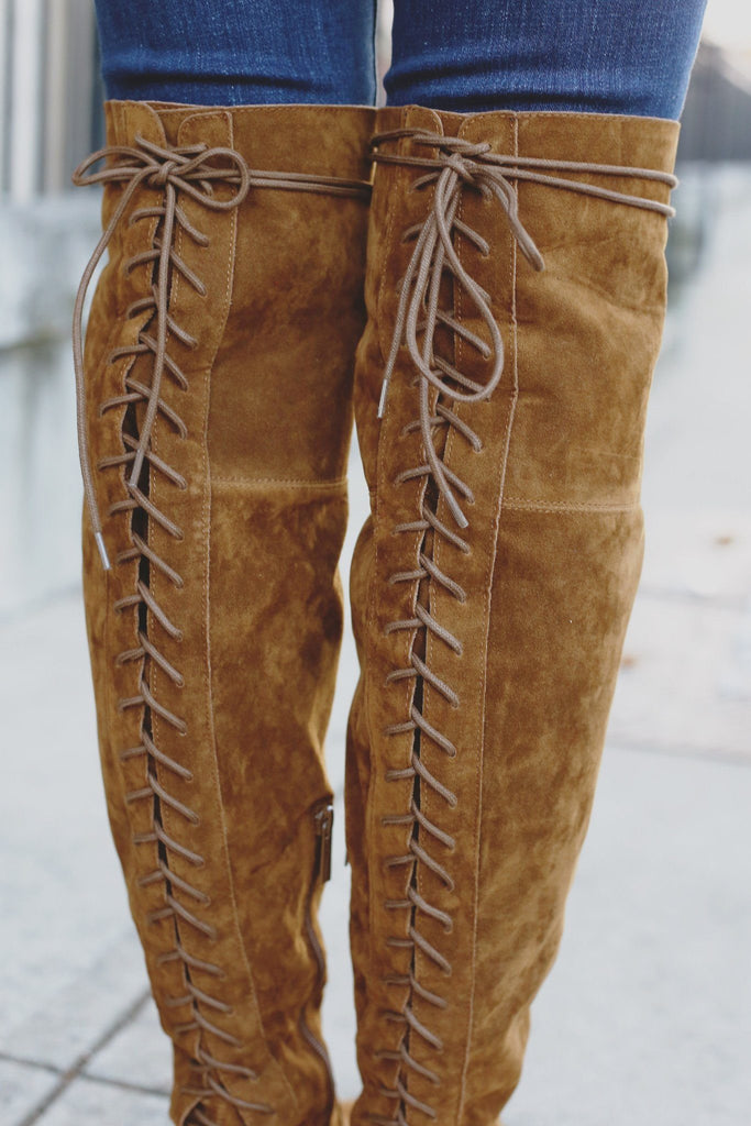 Whiskey Lace Up Over the Knee Boots Houston-12