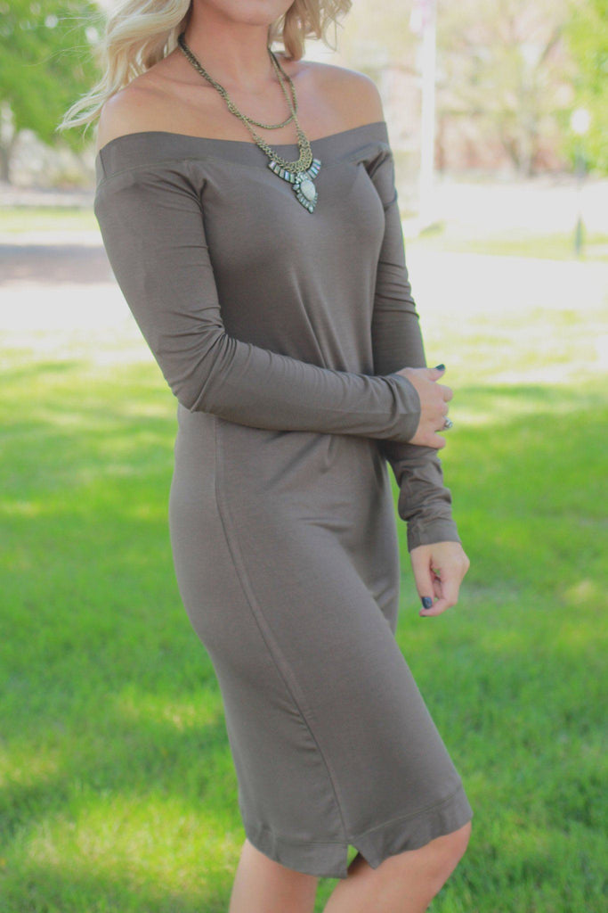 Olive Long Sleeve Off the Shoulder Bodycon Dress
