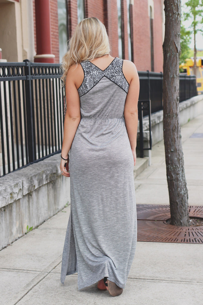 Patterned Yoke Side Slit Heathered Maxi Dress