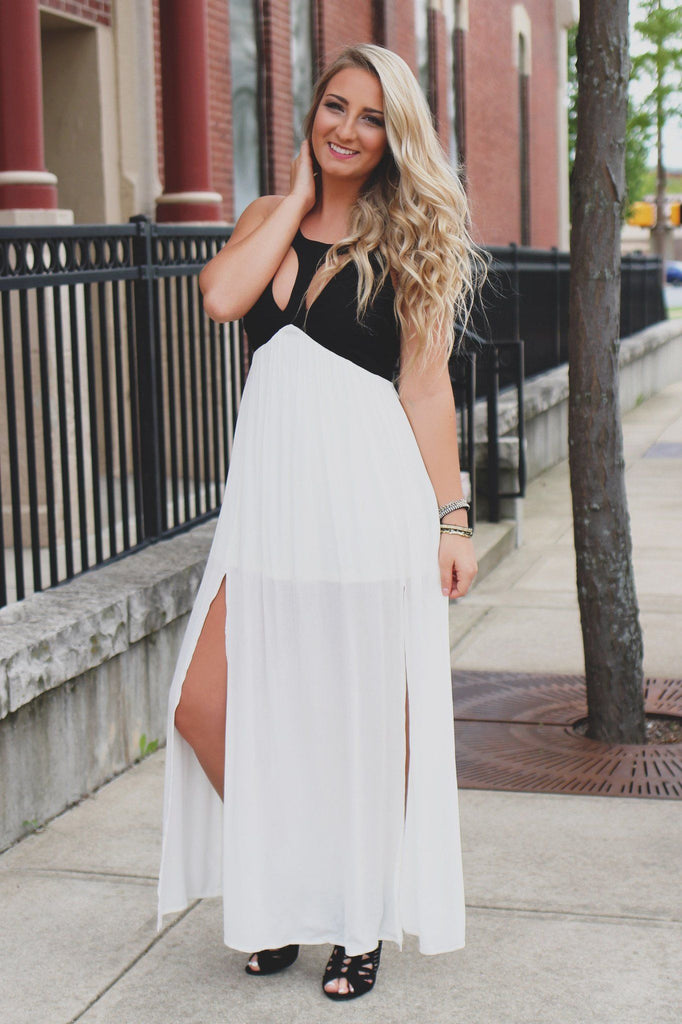 Cutout Front Lace Up Back Empire Waist Maxi Dress
