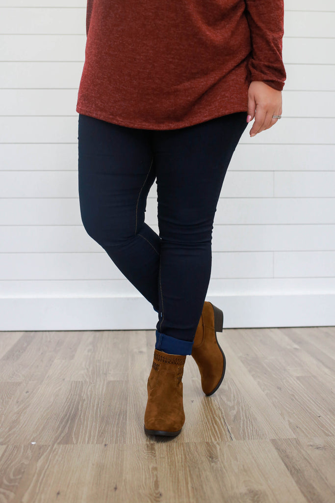 Plus Size Dark Wash Jeggings - Online Clothing Boutique