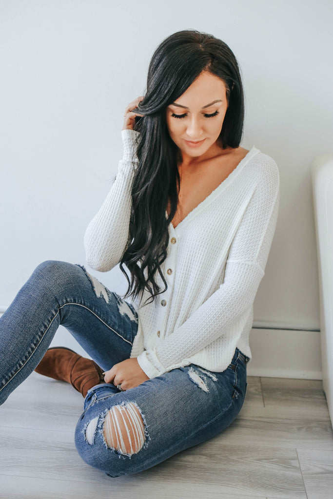 Button Up Waffle Knit Top - Online Clothing Boutique