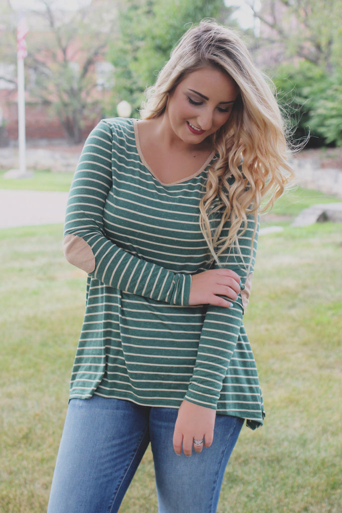 Striped Suede Elbow Patch Round Neck Long Sleeve Top