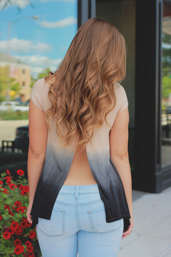 Ombre Short Sleeve Round Neck Back Slit Top