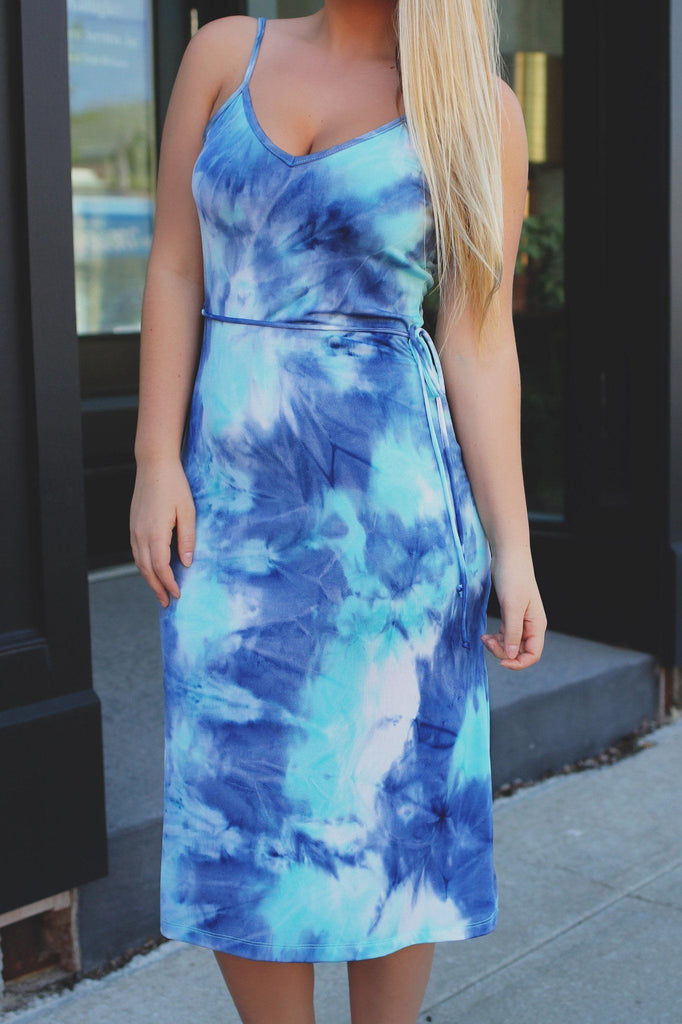 Tie Dye Stretchy Knit Cami Strap V-neck Midi Dress