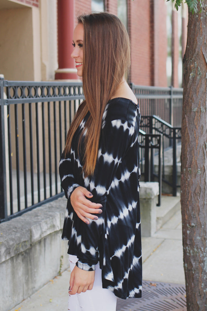 Tie Dye Long Sleeve Deep V Lace Up Back Top