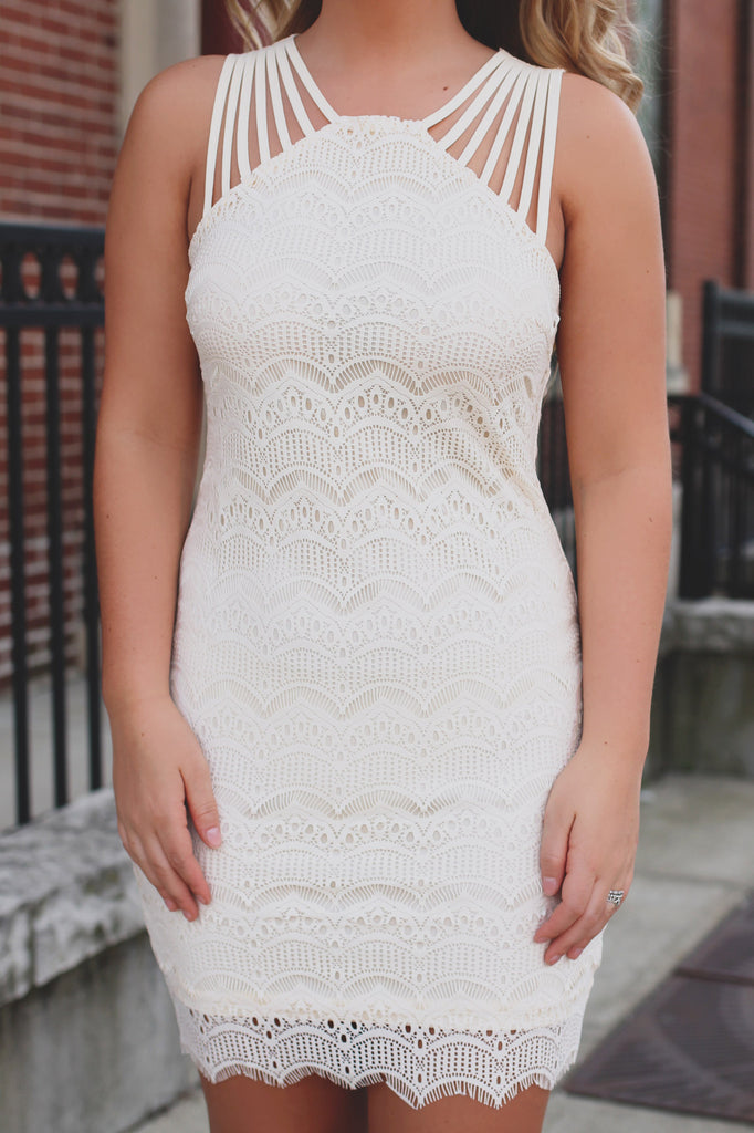Cream Lace Strappy Shoulder High Neck Bodycon Dress