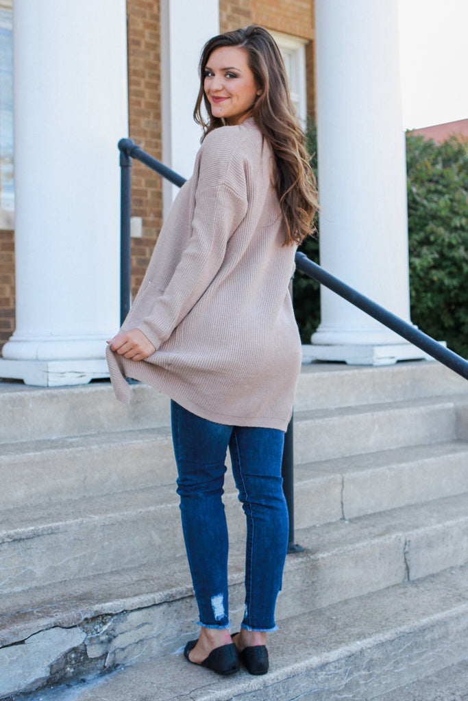 Taupe Long Sleeve Soft Knit Cardigan