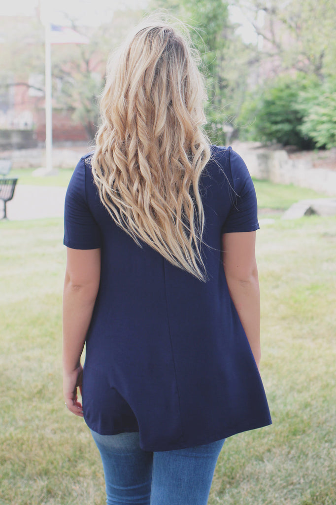 Navy Short Sleeve Round Neck Trapeze Top