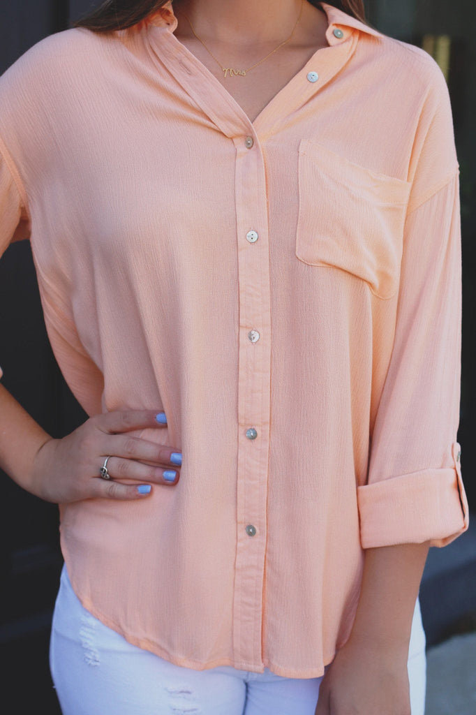 Button Down Long Sleeve Pull Tab High-low Hem Top