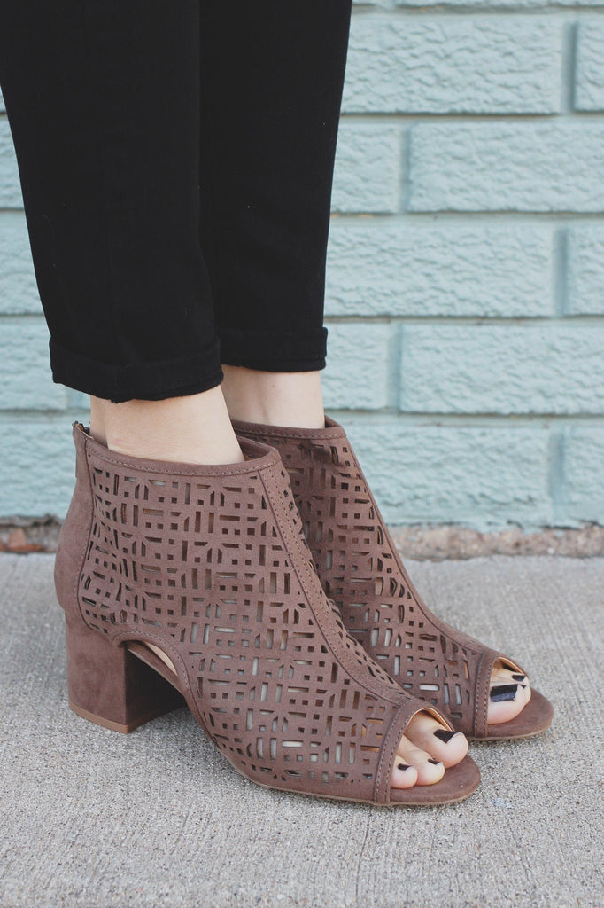 Taupe Faux Suede Peep Toe Cut Out Booties Larina-19