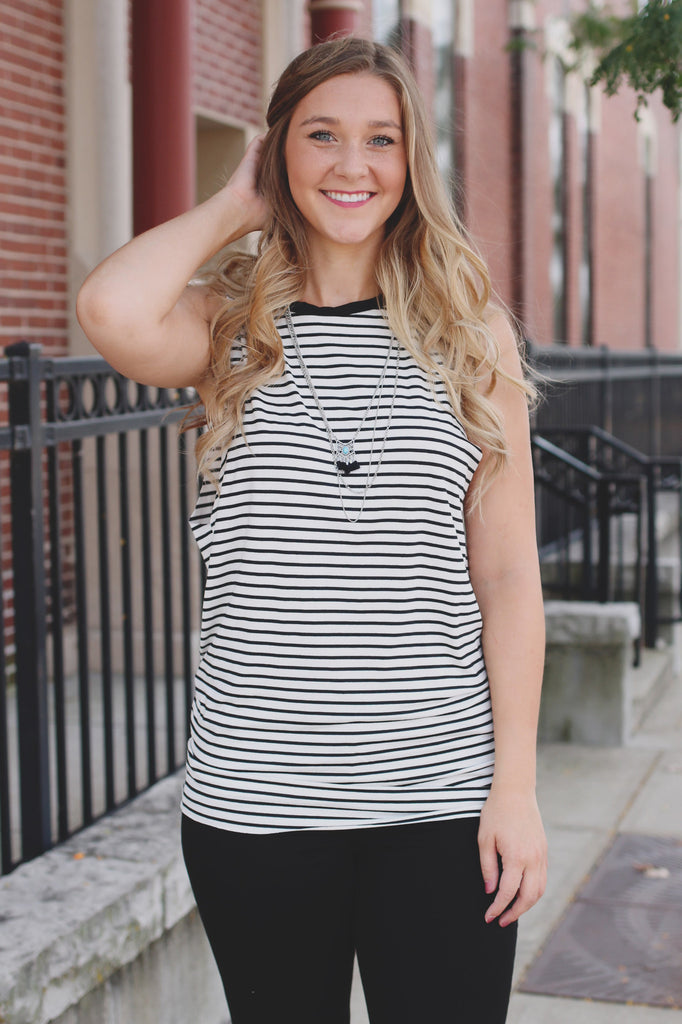 Black and White Striped Muscle Tee