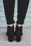 Black Faux Suede Peep Toe Cut Out Booties Larina-19